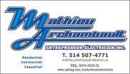 Mathieu Archambault Entrepreneur Électricien Inc.
