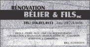 Rénovation Bélier & Fils INC